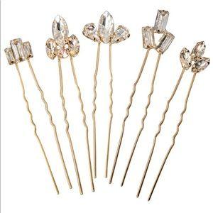 Gold crystal bridal hair pins set of five